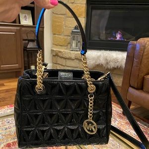 Black quilted leather Susannah Michael Kors purse